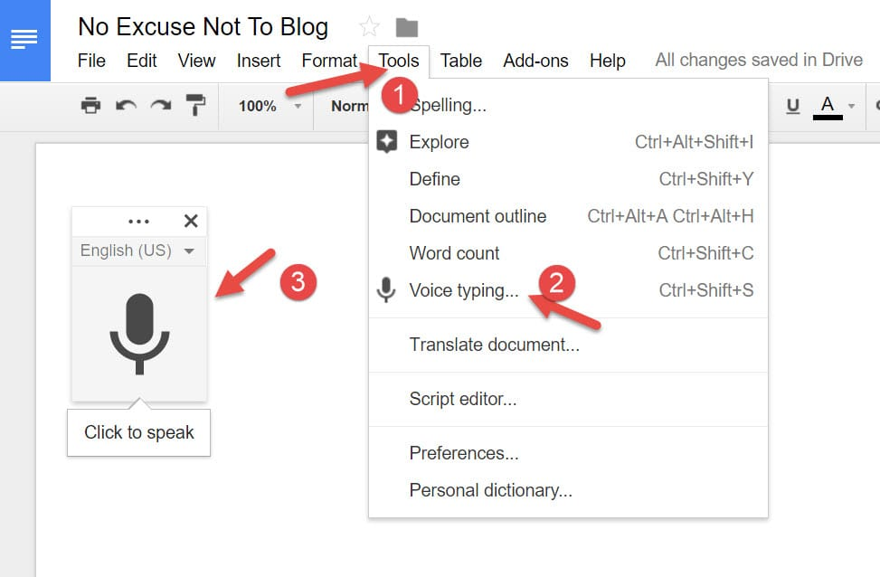 use google docs voice typing to write your next blog post, quickly and easily