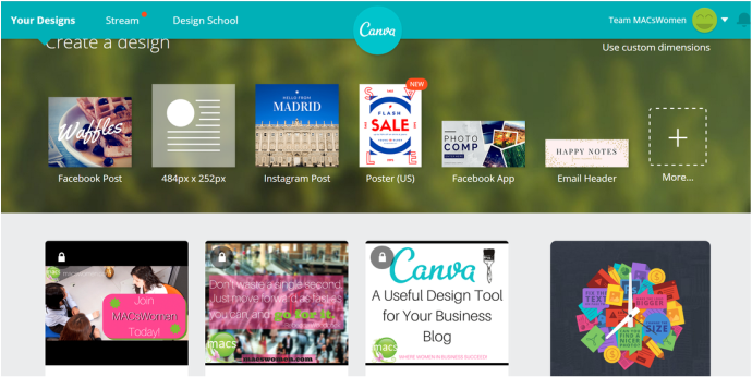 Canva screenshot, MACs Women blog