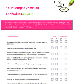 company vision and values checklist