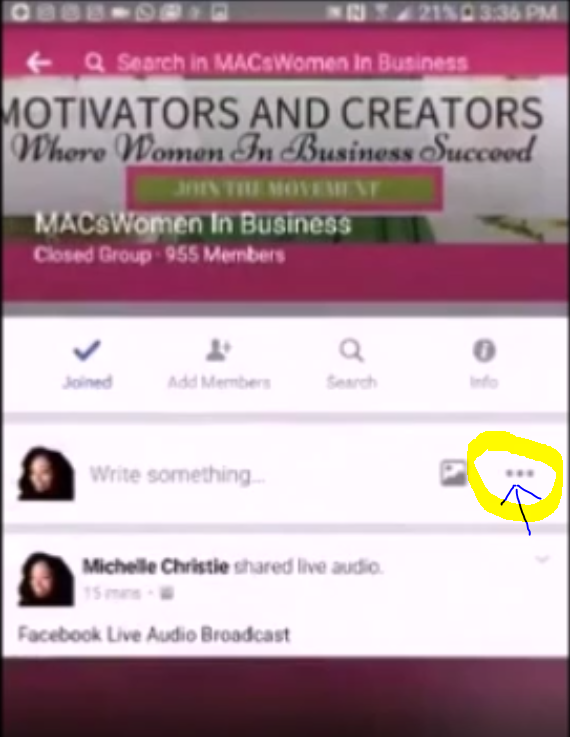 Go live inside facebook group with audio broadcasting