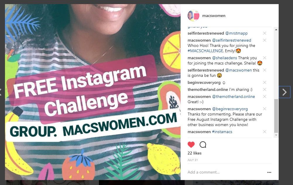 make a post using a hashtag #instamacs on our #macswomen account
