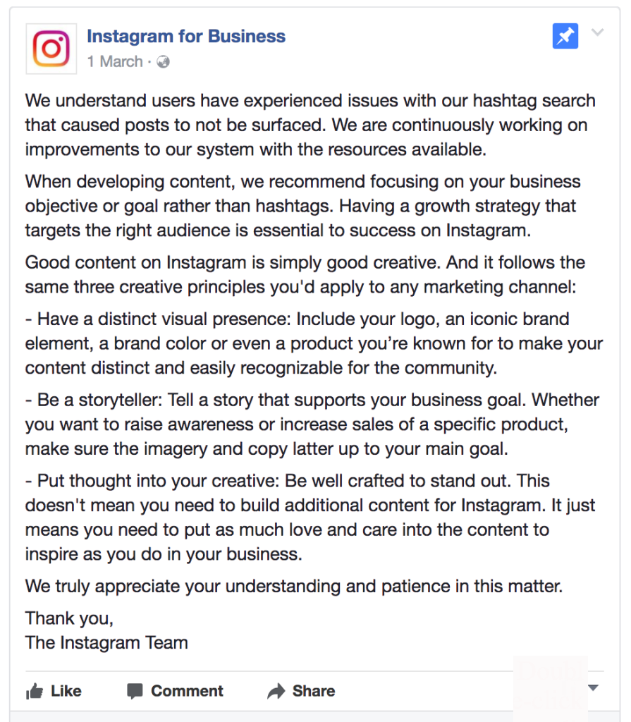 Instagram for business says there could be a hashtag glitch #macswomen