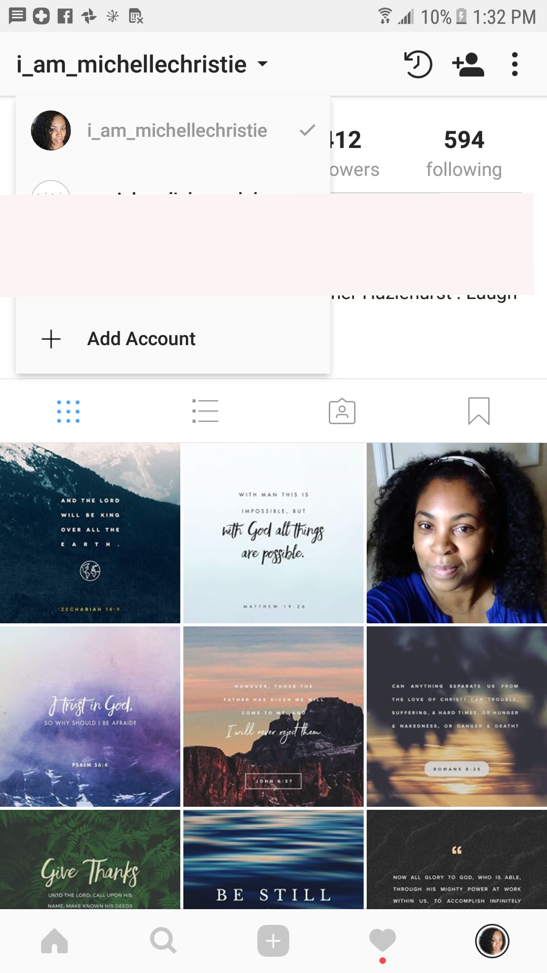 Log into instagram using a different account @macswomen or #Iammichellechristie